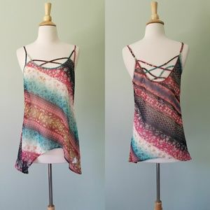 Maurices sheer multicolor tank top small nwt